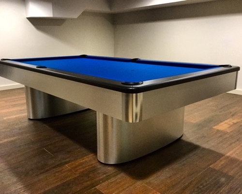 Custom Pool Table With Blue Felt