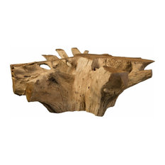 48-inchL Coffee Table Solid Teak Wood Free Form Root Sculpture Round