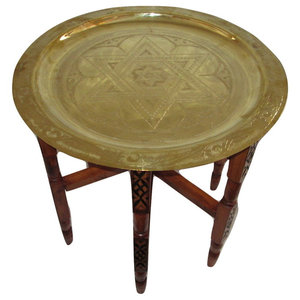 Moroccan Engraved Carved Polished Star of David Brass Tray, 31""