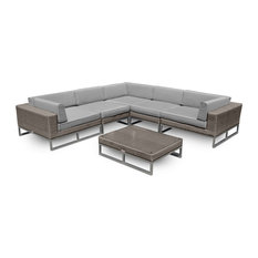 Outdoor Patio Furniture 6-Piece All-Weather Wicker Sofa Sectional
