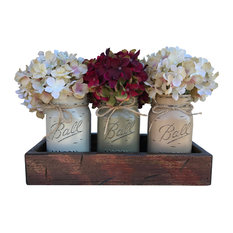 Antique Red Tray With Ball Jars and Flowers, Thistle, Pewter Green, Coffee Brown