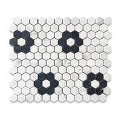 "Carrara White 1"" Hexagon With Black Marble Rosette Pattern Mosaic Tile Honed"