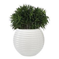 Dimond Jaya Bamboo Tuft Planter, Gloss White