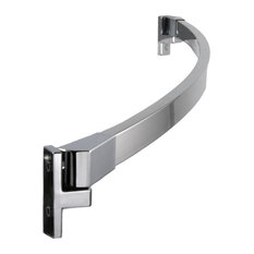 "60"" Curved Fixed Shower Curtain Rod, Brushed Nickel, Polished Chrome Finish"