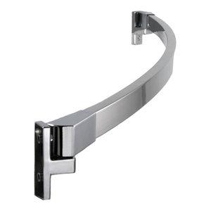 "60"" Curved Fixed Shower Curtain Rod, Brushed Nickel, Polished Chrome Finish"
