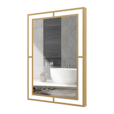 "24""X36"" Carlton Rectangle Bathroom Led Mirror With Defogging, Brushed Brass"