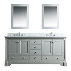 Olivia 72 in Double Bathroom Vanity in Gray with Carrera Marble Top