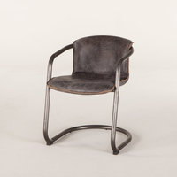 """30"""" Set of Two Dining Chair Vintage Brushed Steel Base Antique Ebony Leather"""