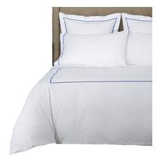1000 Thread Count Single Stripe Embroidery Duvet Set, Blue on White, Full/ Queen