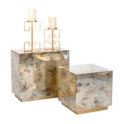 Worlds Away Small Reverse Mirror Side Table with Gold Leaf Base
