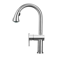 Solid Stainless Steel 1 H Faucet, swivel Spout, Pull Down Spray Head