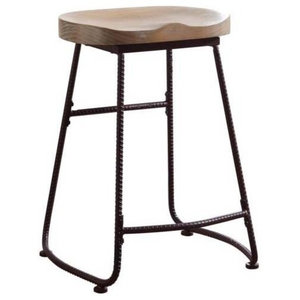 Remarkable Gavin Sculpted Counter Stool Solid Acacia Seat And Black Caraccident5 Cool Chair Designs And Ideas Caraccident5Info