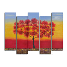 Red Tree Quintet Hand Painted 5 Piece Canvas Set