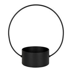 "Rowbie Circular Metal Hanging Planter, Black 20"" Diameter"