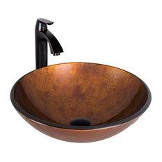 VIGO Russet Glass Vessel Sink and Linus Faucet