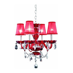 Elegant Lighting Princeton 4 Lights Pendant In Red