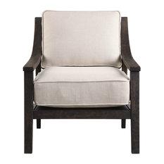 Exposed Dark Wood Frame Box Cushion Accent Chair Arm Midcentury Modern