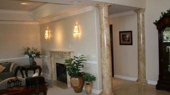 faux marble/ fireplace and columns