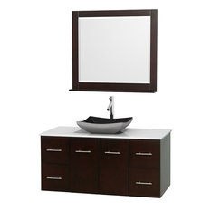 "Centra 48"" Espresso Single Vanity, White Man-Made Stone Top, Black Granite Sink"