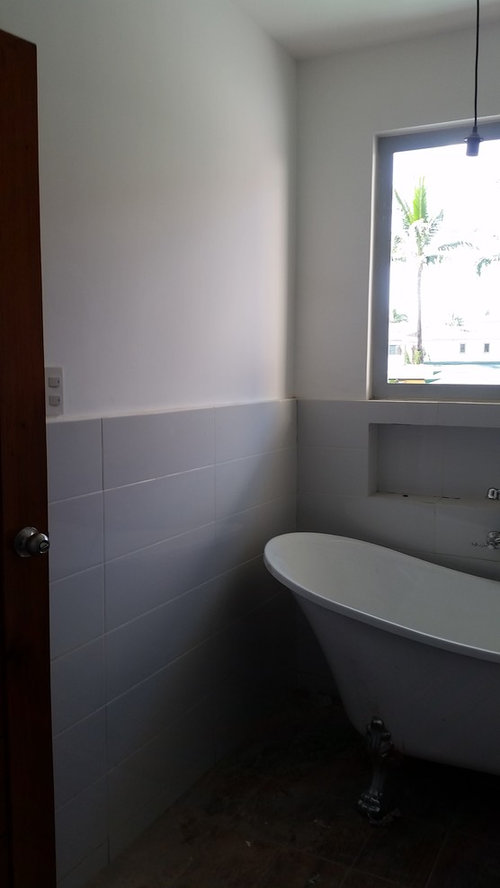 ... tiling only half of the wall of my bathroom. However the tiles ended up looking weird and unfinished. Can you guys suggest something to make the walls ... & Help! Half tiled bathroom