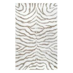 Hand Tufted Plush Zebra Rug, 5'x8'