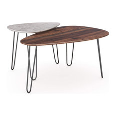 Set of 2 Nesting Coffee Table, Hairpin Legs With Triangular Top, White/Walnut