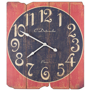 Black and Red Decking Wall Clock, 89x99 cm