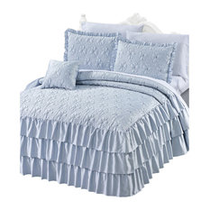 Matte Satin Ruffle 4 Piece Bed Spread Set, Light Blue, King