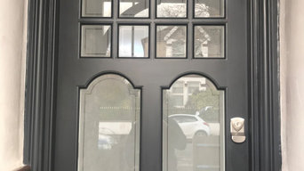 The Black Edwardian front door with sandblasted glass panels