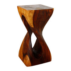 "Haussmann Single Twist Vine Stool Table 12""x12""x23"", Livos Walnut Oil"