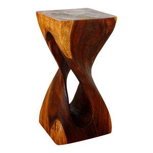 "Haussmann Single Twist Vine Stool Table 12""x12""x23"", Livos Walnut Oil"