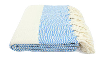 Turkish Diamond Towel, Fouta, Peshtemal, Blue