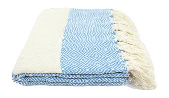 Turkish Diamond Towel, Fouta, Peshtemal, Blue