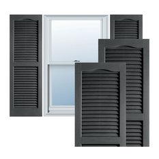 Builders Choice Vinyl Open Louver Window Shutters, w/Installation (Pair), Grey
