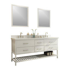 "Ariel Shakespeare 73"" Double Sink Vanity Set, White"