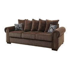 FOA GROUP   Rydel Transitional Nailhead Trim Chenille Fabric Sofa, Brown    Sofas