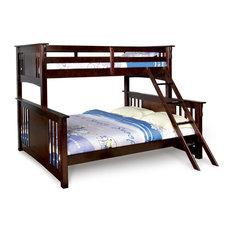 Adarn - Twin Over Queen XL Long Combo Bunk Bed Dark Walnut Sturdy Hard Wood  Mission