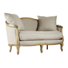 Rue du Bac French Country Natural Linen Feather Settee Loveseat