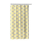 Grey Lemon Yellow Fabric Shower Curtain, Modern Floral Moroccan Design With Hook