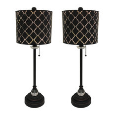 """28"""" Crystal Lamp With Black Moroccan Tile Shade, Oil Rubbed Bronze, Set of 2"""