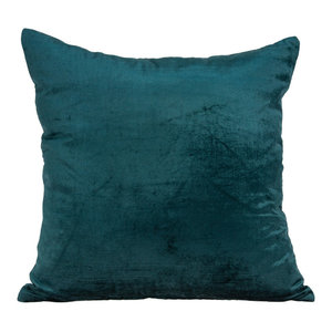 Parkland Collection Transitional Teal Solid Pillow With Poly Insert PILE11220P