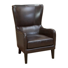 GDFStudio   Clarkson Leather Wingback Club Chair, Brown   Armchairs And Accent  Chairs