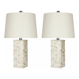 Abbyson Living Mother of Pearl Square Table Lamps, Cream, Set of 2