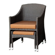 Furniture of America Matson Patio Wicker Arm Chair With Ottoman
