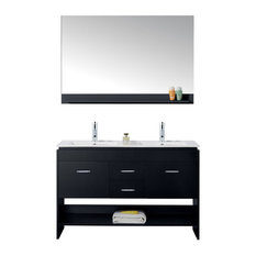 "Gloria 48"" Double Vanity, Gray With Top, Square Sink, Faucet, and Mirror"