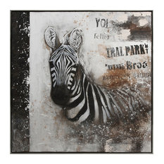 Benzara Canvas Oil Painting Depicting Zebra in Wooden Frame, Multicolor