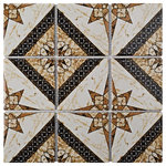"""SomerTile - 11.75""""x11.75"""" Harmony Elena Porcelain Mosaic Floor/Wall Tile, Marron, Set of 10 - Back by popular demand, a fan-favorite pattern that has been available selectively for nearly two decades is now available in an approachable-sized mosaic with the SomerTile Harmony Elena Marron 11-3/4 in. x 11-3/4 in. x 6 mm Porcelain Mosaic Tile. As a tribute to the company Presidents father, this elegant design offers a bold look that was the number one seller for six years after its initial release to the SomerTile product line. Blending earth-toned shades of tawny, taupe, sepia, ochre and black, this mosaic can offer any space a sophisticated look with geometric touches. The creamy white background has marbleized striations of tawny that mimics the timeless appearance of marble. With a rich satin glaze and smooth finish, this tile radiates exquisite design. Frost resistant, durable and ADA-compliant, this encaustic-inspired mosaic is suitable for most interior and exterior settings including kitchens, showers, fireplace facades, patios and countertops."""