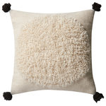 "Loloi Rugs - P0483 Pillow, Ivory, Black, 22""x22"" Cover With Down - The P0483 from Loloi is the precise pillow to accent your space.  The ivory color and 100% wool material make this pillow an inviting addition to any room."