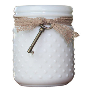 White Vintage Hobnail Jar Soy Candle With Skeleton Key, American Honey Blossom