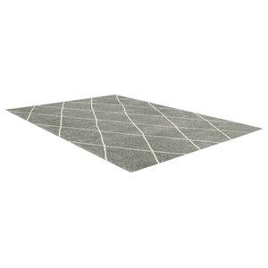 Logan Diamond Rug, Grey and Ivory, 200x290 cm